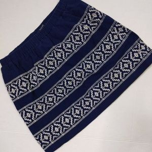 Madewell Skirt Small Blue White Embroidered Stripe